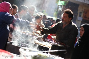 Food sellers busy with football mania...